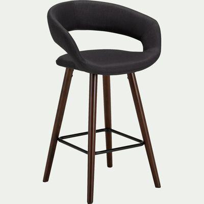 Chaise de bar en tissu avec accoudoirs gris restanque - H65.5cm-JOYAU