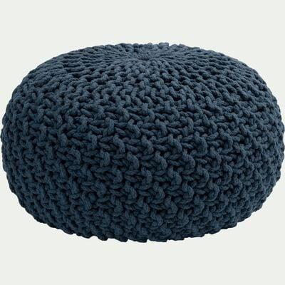 Pouf tressé en coton - bleu figuerolles D50xH30cm-CESAR
