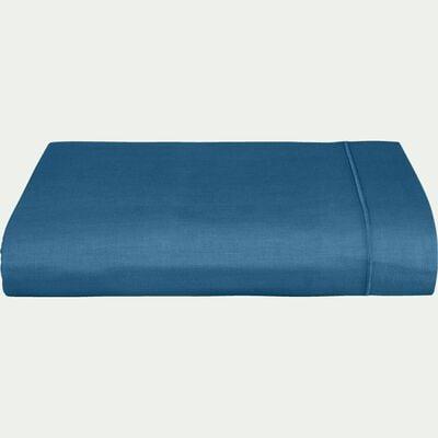 Drap plat en coton - bleu figuerolles 180x300cm-CALANQUES