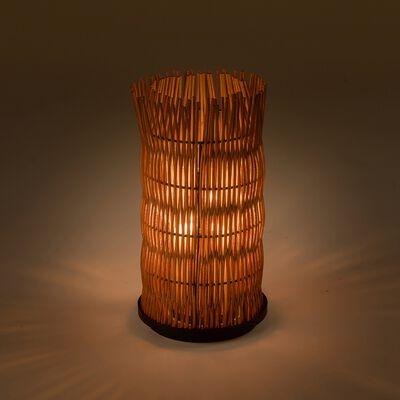 Photophore circulaire en rotin - D16,5x31cm naturel-Paumie