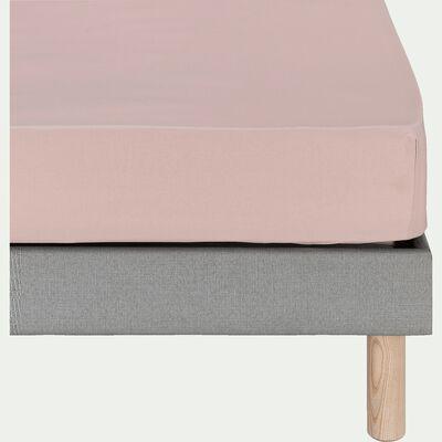 Drap housse en coton - rose rosa 140x200cm B25cm-CALANQUES