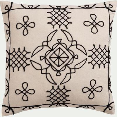 Coussin brodé inspiration berbère en coton - blanc écru 40x40cm-EGYPTIAN