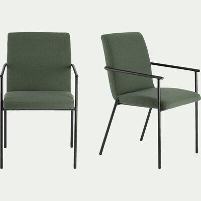 Chaise en tissu avec accoudoirs -  vert cèdre-JASPER