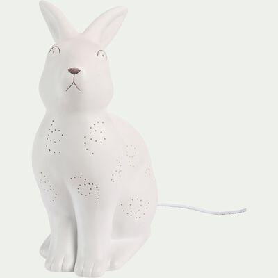 Lampe à poser électrifiée forme lapin en porcelaine - blanc H26,5cm-Lumy