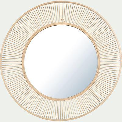 Miroir soleil bombé en bambou - naturel D60cm-AFOURTI