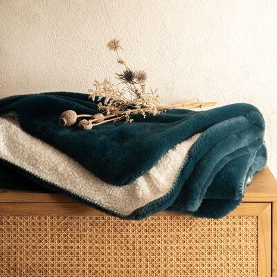 Plaid imitation fourrure - bleu figuerolles 130x170cm-MARIUS