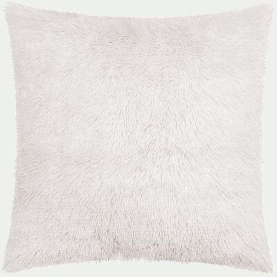 Housse de coussin carrée à poils longs blancs - 40x40cm-ELEC