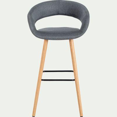 Chaise de bar en tissu avec accoudoirs gris foncé - H75cm-JOYAU