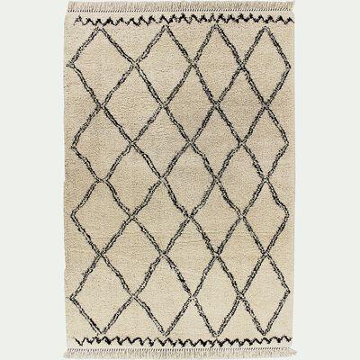 Tapis à franges inspiration berbère - blanc écru 120x170cm-ALINE
