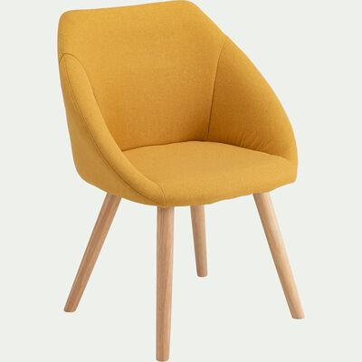 Chaise en tissu avec accoudoirs et piétement naturel - jaune argan-DELINA