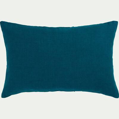 Coussin en lin lavé - bleu figuerolles 40x60cm-VENCE