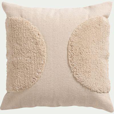 Coussin motifs laineux en coton - naturel 45x45cm-OLLIA