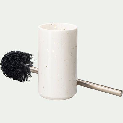 Brosse et porte-brosse wc en céramique mouchetée - blanc ventoux-NEOULES