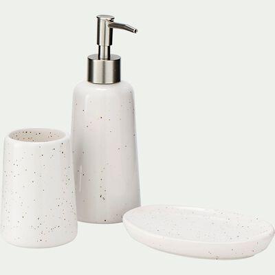 Set de salle de bain en céramique mouchetée - blanc ventoux-NEOULES