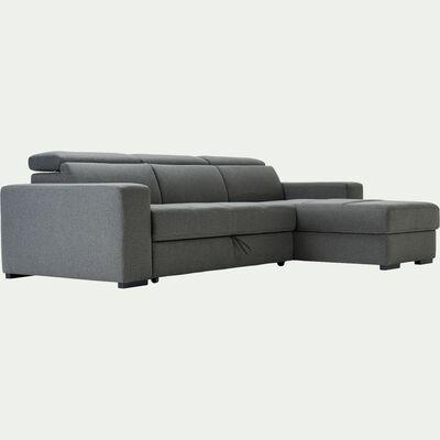 Canapé d'angle réversible et convertible en tissu - gris vésuve-ORIGANO