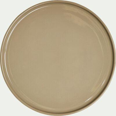 Assiette plate en faïence vert olivier D27cm-VADIM