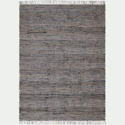 Tapis en coton recyclé et jute - noir 170x120cm-lieto