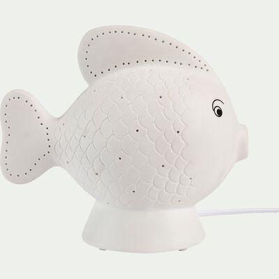 Lampe à poser électrifiée forme poisson en porcelaine - blanc H19,5cm-Lumy