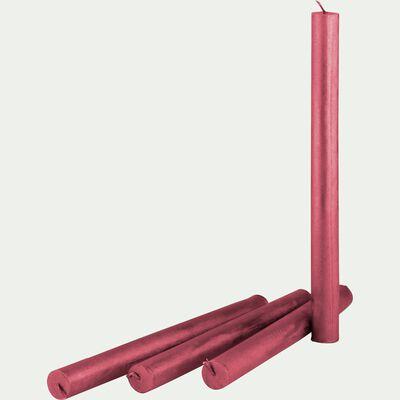 Lot de 4 flambeaux rouge H25cm-RIGUEL