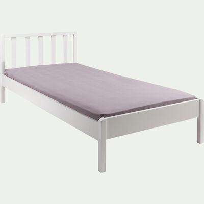 Lit 1 place enfant en bois avec tête de lit à barreaux 90x200cm - blanc capelan-JAUME