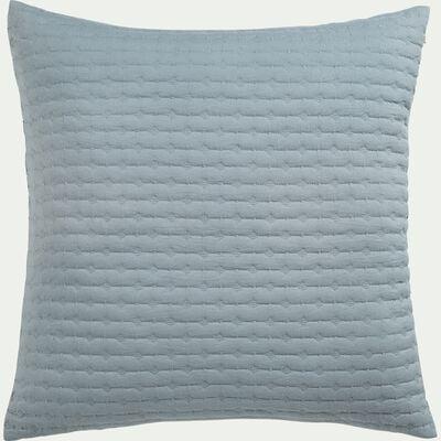 Housse de coussin en tissu surpiqué - bleu calaluna 65x65cm-BENITO