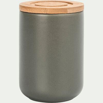 Pot en porcelaine vert avec couvercle en bambou D8xH11cm-JAN