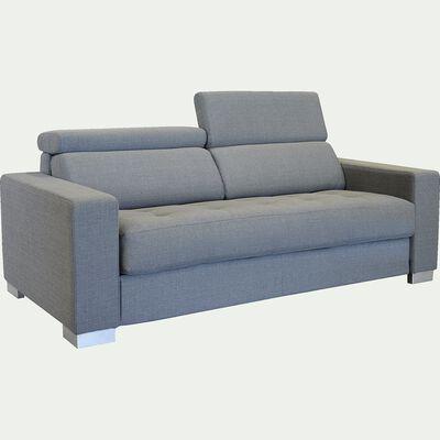 Canapé 3 places fixe en tissu - gris clair-Mauro