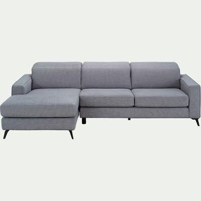 Canapé d'angle gauche fixe en tissu - gris restanque-SALVIA