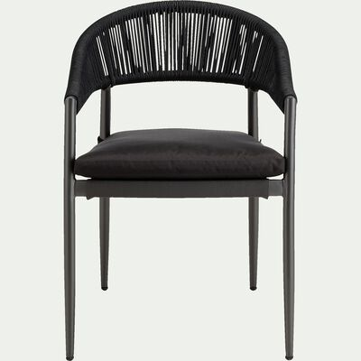 Chaise de jardin avec accoudoirs en acier - noir-ROCIO