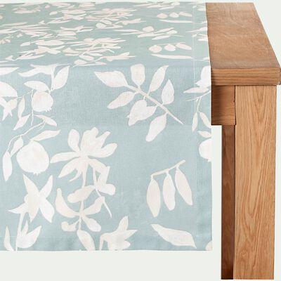 Chemin de table en coton à motif floral - bleu 50x200cm-MALINI