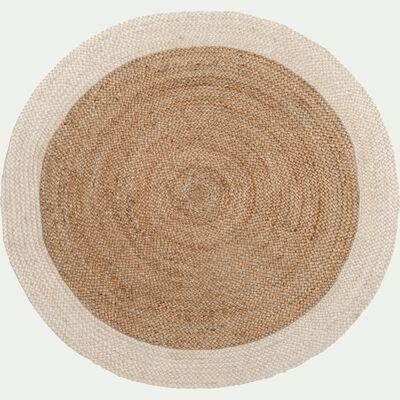 Tapis en jute rond - blanc ventoux D120cm-ANTALYA