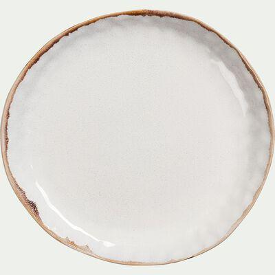 Assiette à dessert en grès D22cm - blanc-AUCEL