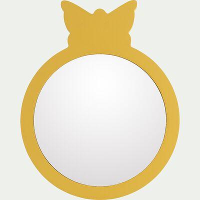 Miroir papillon en bois - jaune argan D18cm-Amira