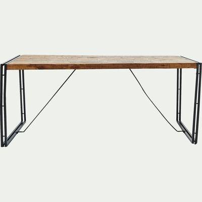 Table de repas en bois et métal vieilli - 8 places-OSCAR