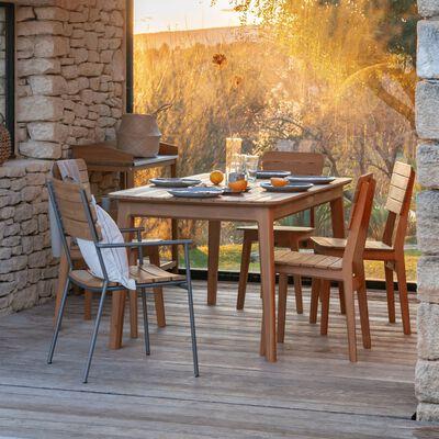 Table de jardin extensible en acacia - naturel 6 à 8 places-AZTEK
