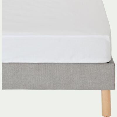 Drap housse en coton - blanc 200x200cm B30cm-CALANQUES