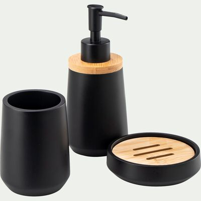 Set de salle de bain en polyresine - noir-LEUZE