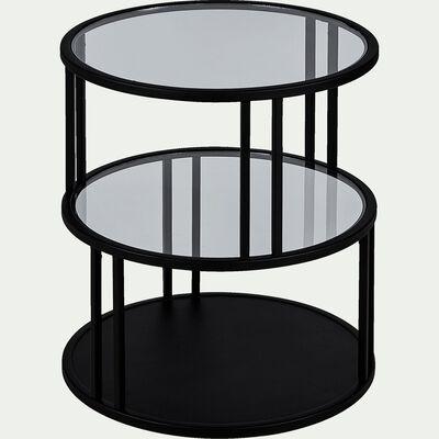 Bout de canapé rond verre et métal - noir D45cm-HENU