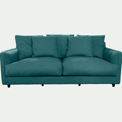 Canapé 3 places fixe en tissu - bleu niolon-LENITA