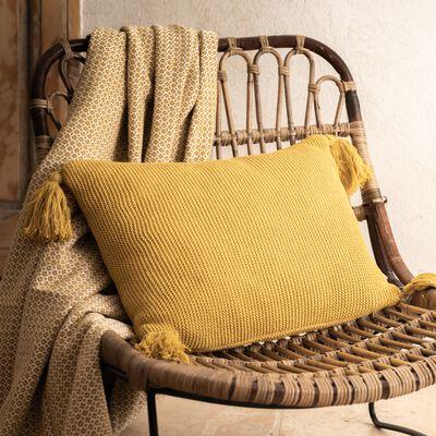 Coussin à pompons tricoté en coton - jaune 35x50cm-BAHIA