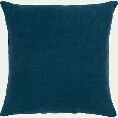Coussin en lin lavé - bleu figuerolles 45x45cm-VENCE