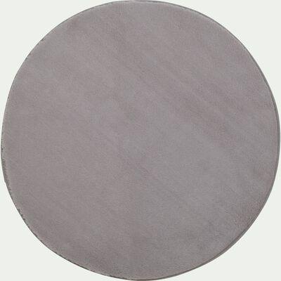 Tapis rond imitation fourrure - gris restanque D70cm-ROBIN