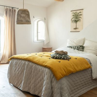 Édredon en velours de coton piquage pompons - jaune 100x180cm-EDEN