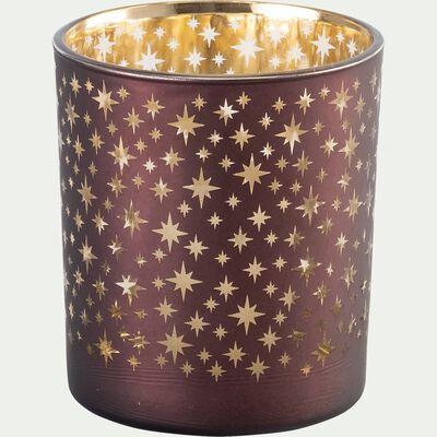 Photophore en verre motif étoiles - rouge D9xH10cm-PRESCY