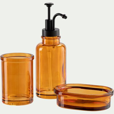 Set de salle de bain en verre - marron-MIMOSA