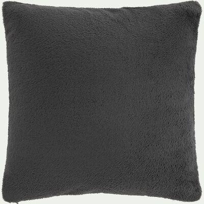 Housse de coussin effet polaire- gris ardoise 65x65cm-ROBIN