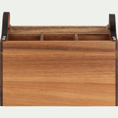 Range couverts en bois d'acacia avec poignées en cuir-AJAS