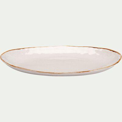 Plat ovale en grès D34cm - blanc-AUCEL