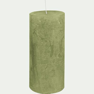 Bougie cylindrique - vert garrigue H15cm-BEJAIA