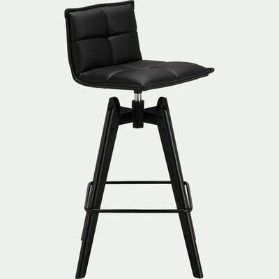 Chaise de bar pivotante en simili noir - H64cm-AGATHE